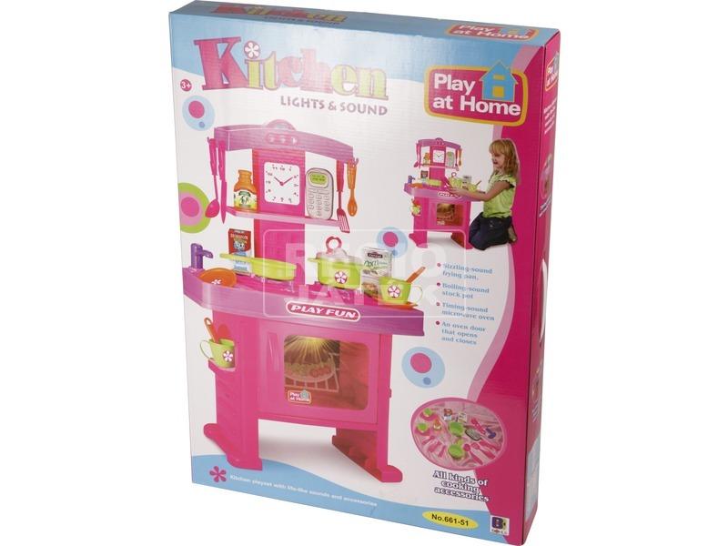 Játékkonyha hanggal és fénnyel - 63 cm, rózsaszín