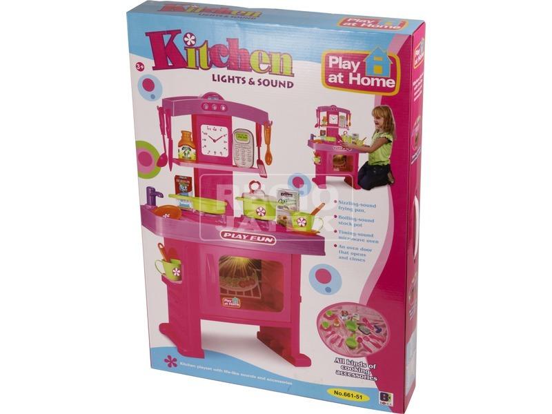 kép nagyítása Játékkonyha hanggal és fénnyel - 63 cm, rózsaszín