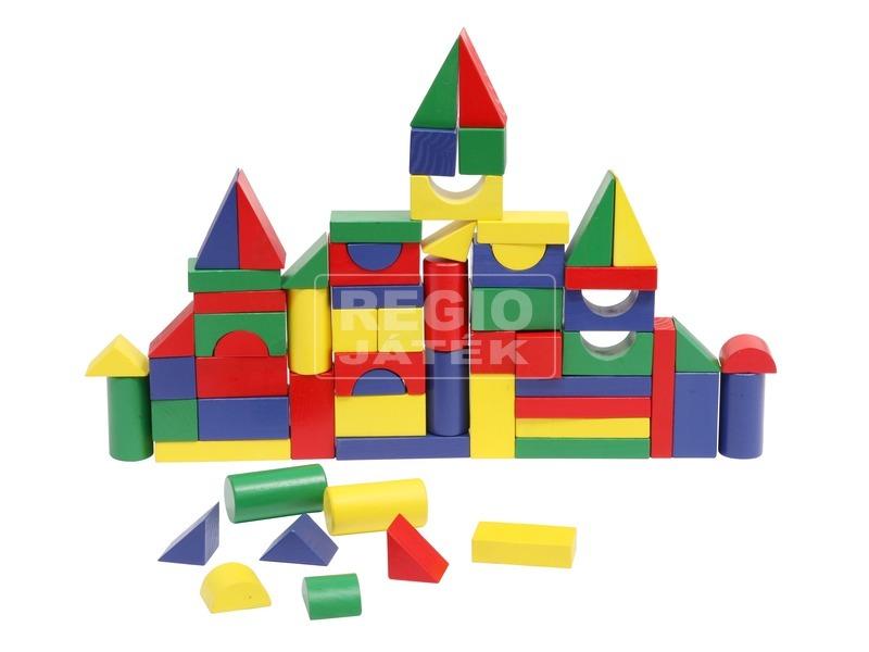 Fa építőkocka 50 darabos készlet