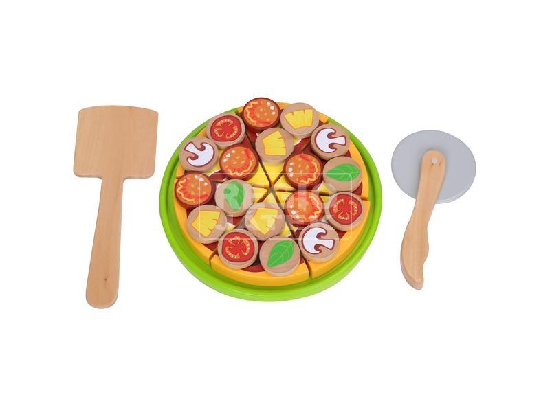 Fa pizza vágható készlet