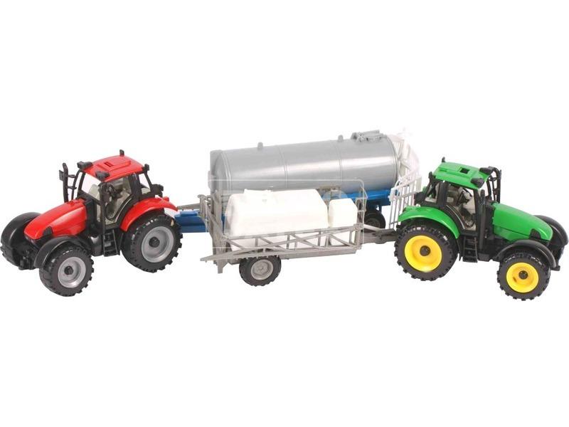 Lendkerekes traktor utánfutóval 2 darabos készlet - többféle