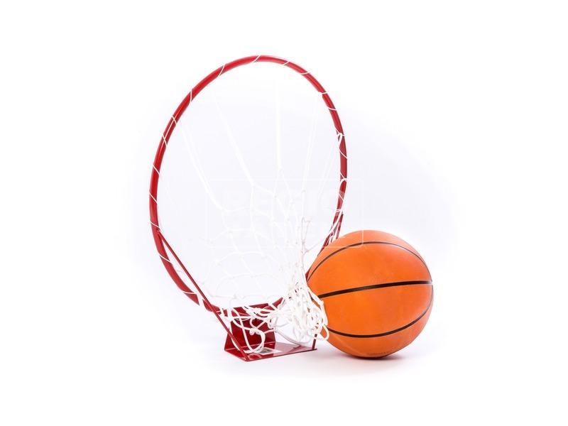 Kosárgyűrű hálóval, labdával