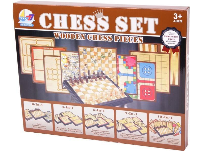 5 az 1-ben fa társasjáték és sakk