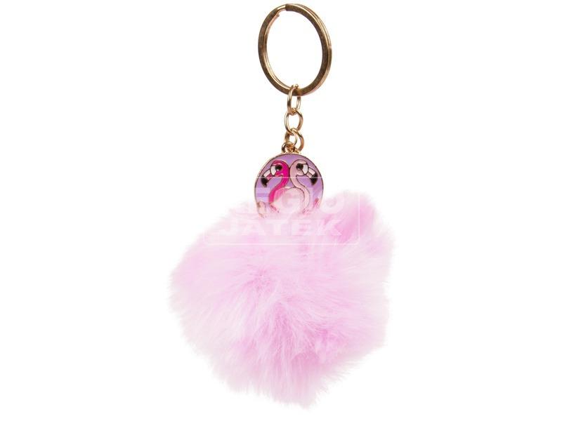 Pompom kulcstartó flamingó dísszel - többféle