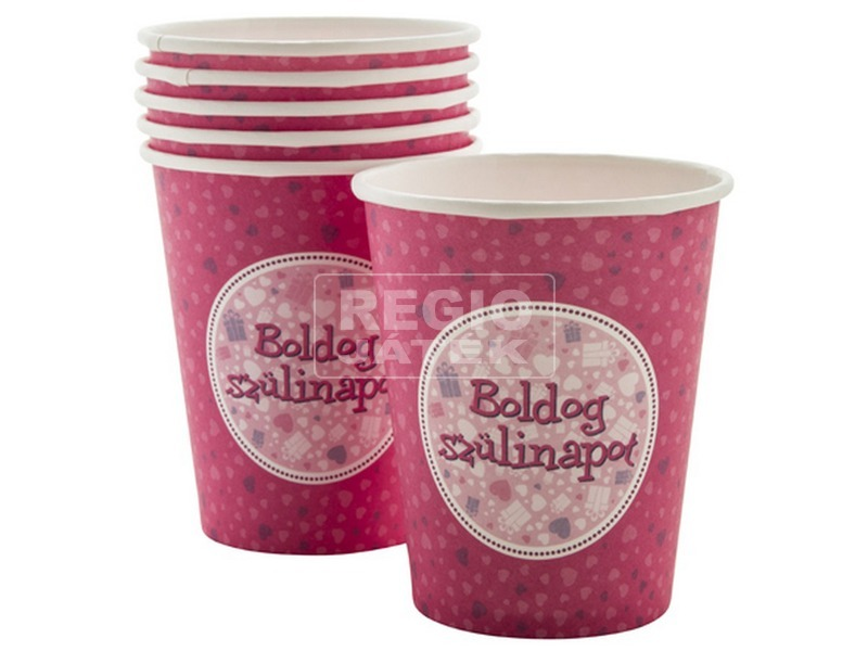 Boldog Születésnapot pohár - Pink 6 db /cs FUN