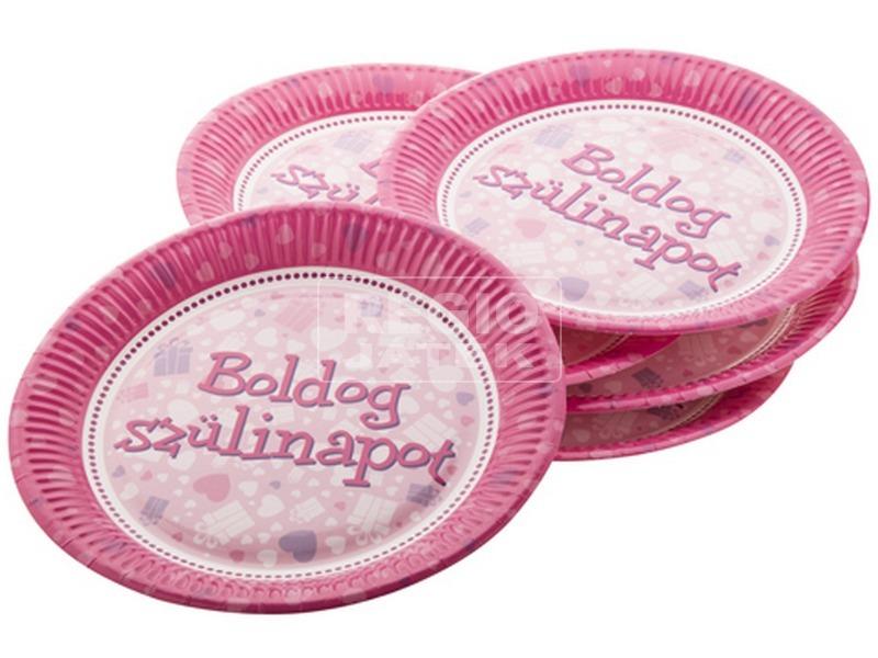 Szülinapi papírtányér 6 darabos - 23 cm, pink