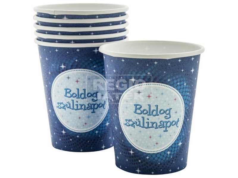 Szülinapi papír pohár 6 darabos - 250 ml, kék