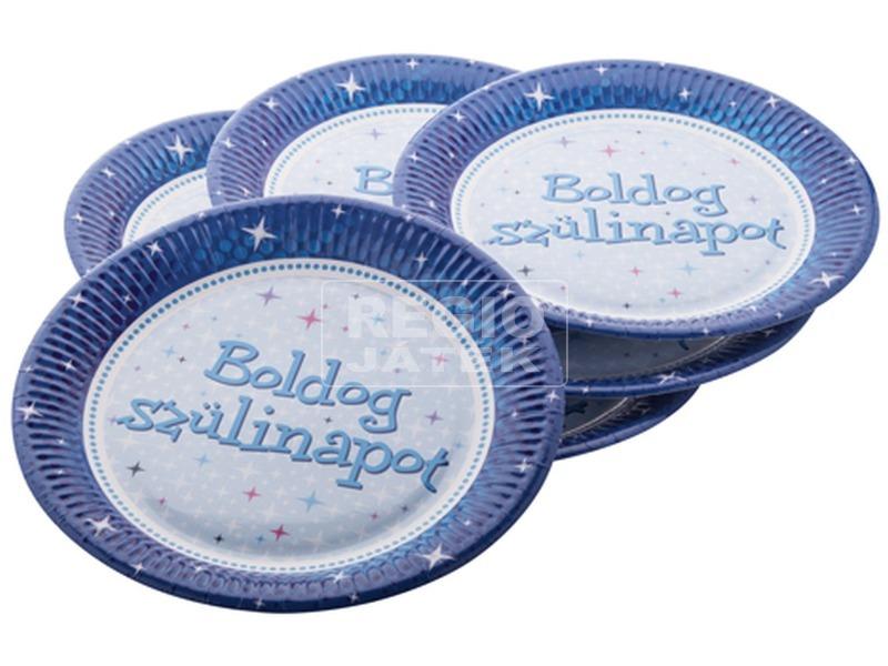 B. Születésnapot tányér Kék 23 cm-es 6 db /cs FUN