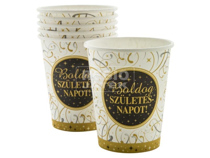 Elegáns szülinapi papír pohár 6 darabos - 250 ml