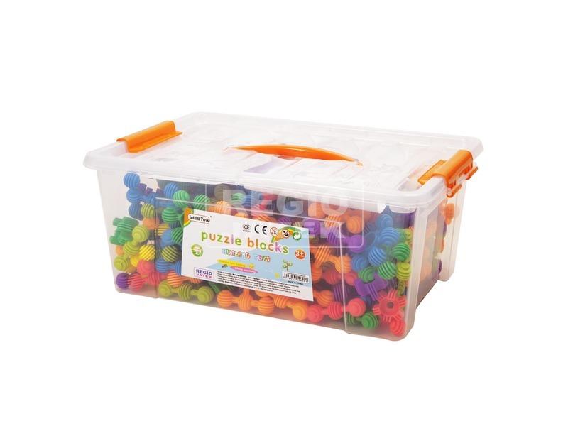 Műanyag építőjáték dobozban 220 darabos készlet