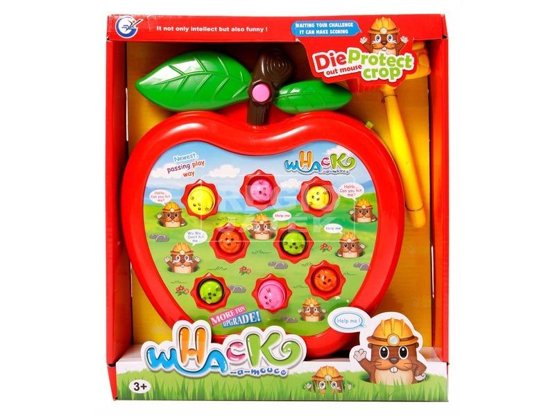 Kalapácsos vakond ütő játék - alma, többféle