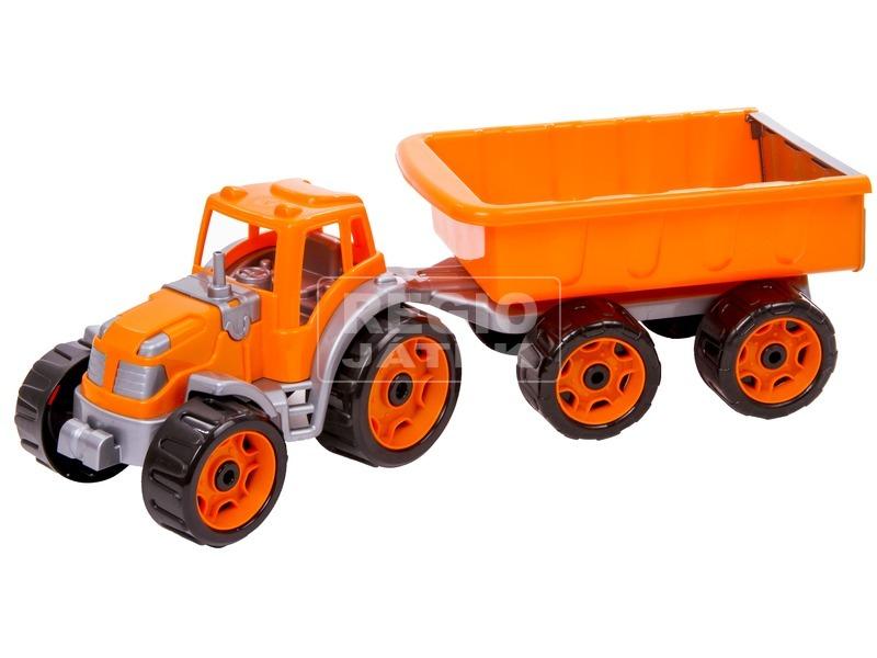 Műanyag traktor utánfutóval - 53 cm