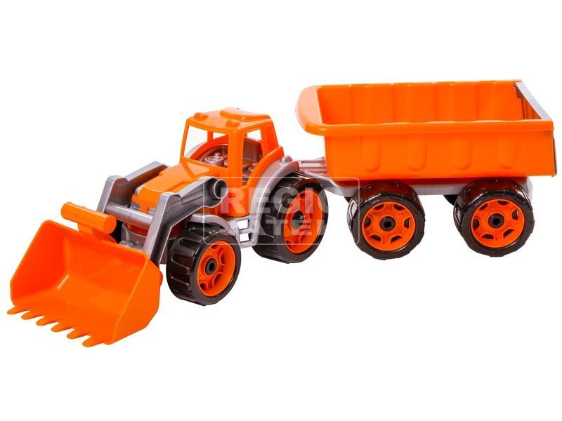 kép nagyítása Műanyag traktor utánfutóval - 65 cm, többféle