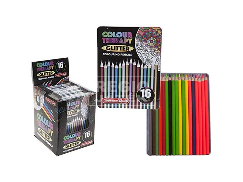 Színterápia, stresszoldó kifestő - 16 db metál színű ceruza fémdobozban