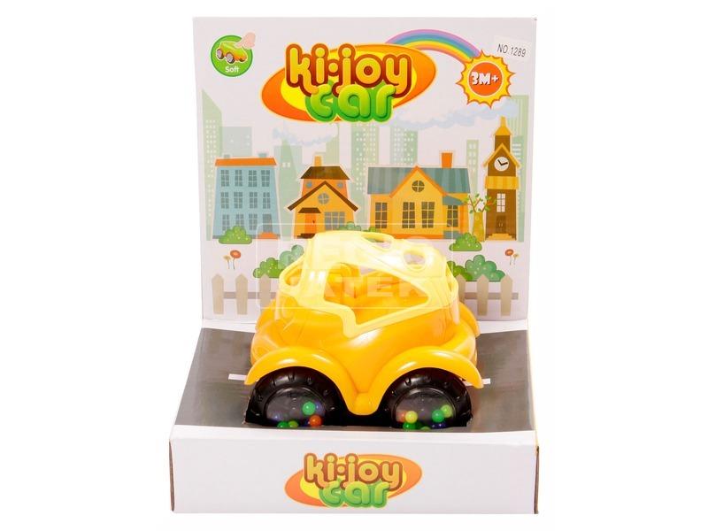 Készségfejlesztő bébi autó - narancs-sárga, 12 cm