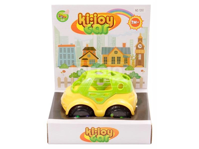 Készségfejlesztő bébi autó - sárga-zöld, 14 cm