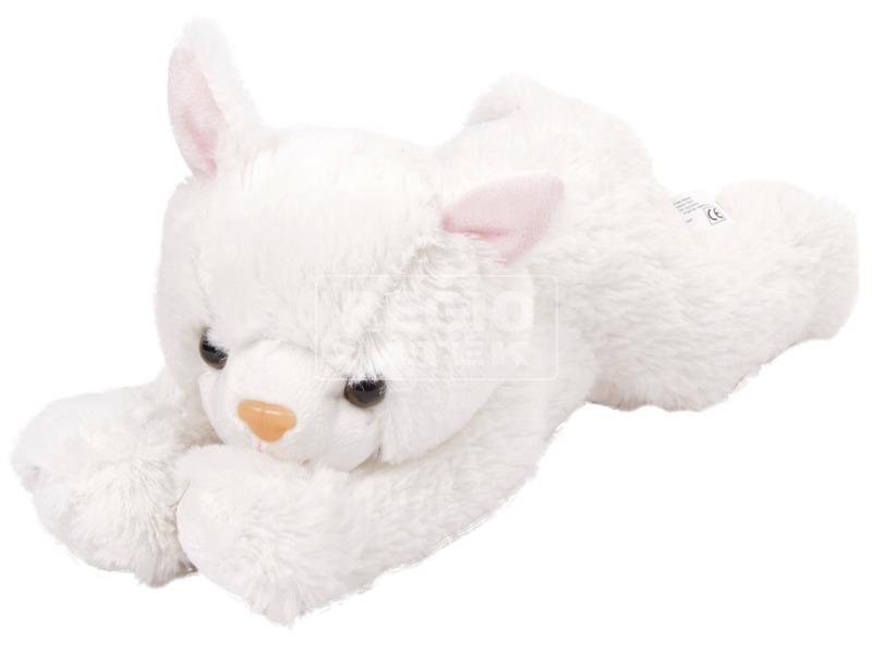 Fehér plüss cica, 25 cm