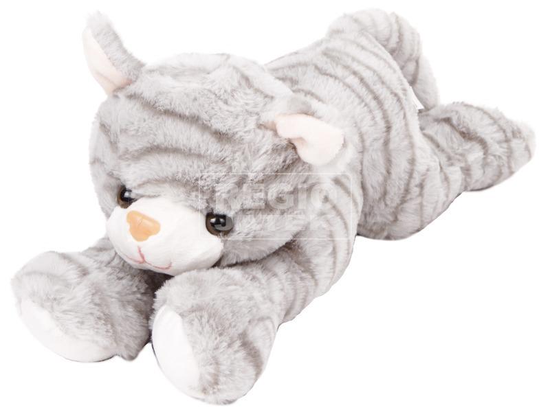 Szürke plüss cica, 25 cm