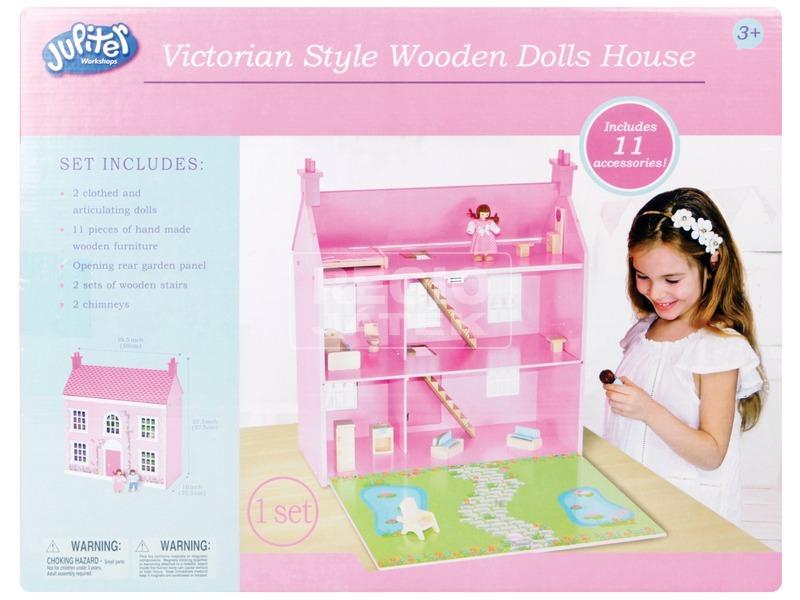 kép nagyítása Rózsaszín fa házikó babával és bútorokkal - 58 cm