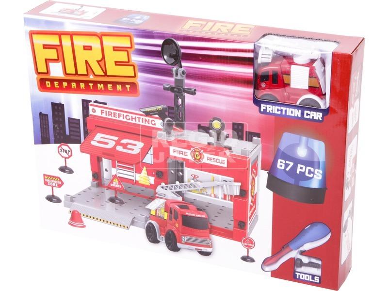 Műanyag építőjáték - Tűzoltóság, 67 db-os
