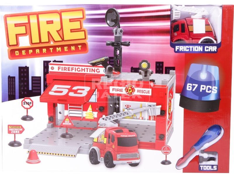 kép nagyítása Műanyag építőjáték - Tűzoltóság, 67 db-os