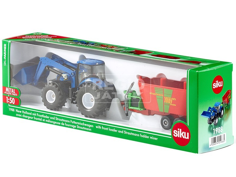 SIKU New Holland traktor utánfutóval 1:50 - 1988