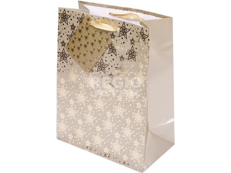 Csillag ajándéktáska - arany, 23 x 18 cm