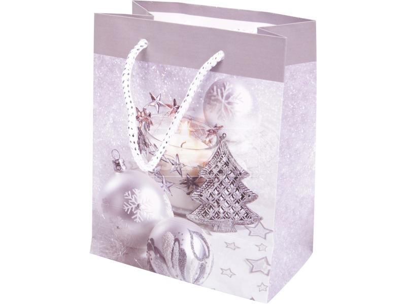 Karácsonyfa ajándéktáska - ezüst, 14 x 11 cm