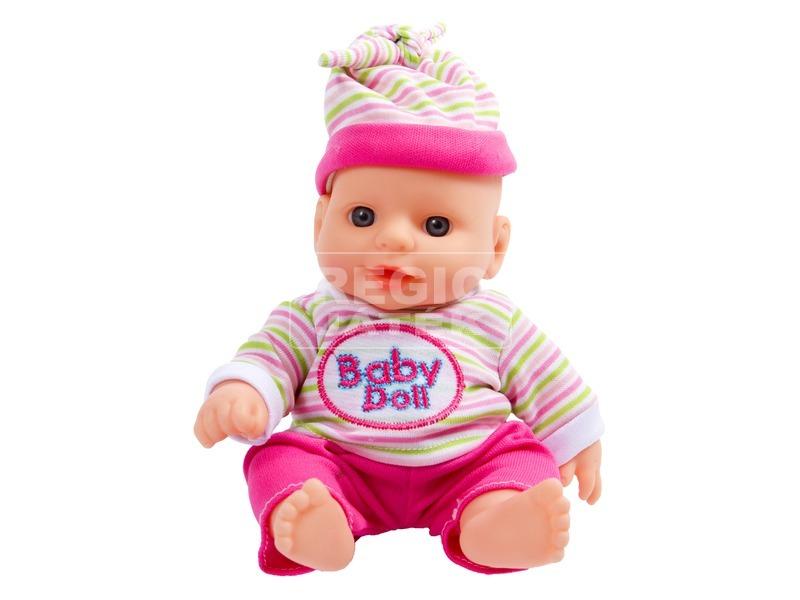 kép nagyítása Játékbaba csíkos ruhában - 19 cm, többféle