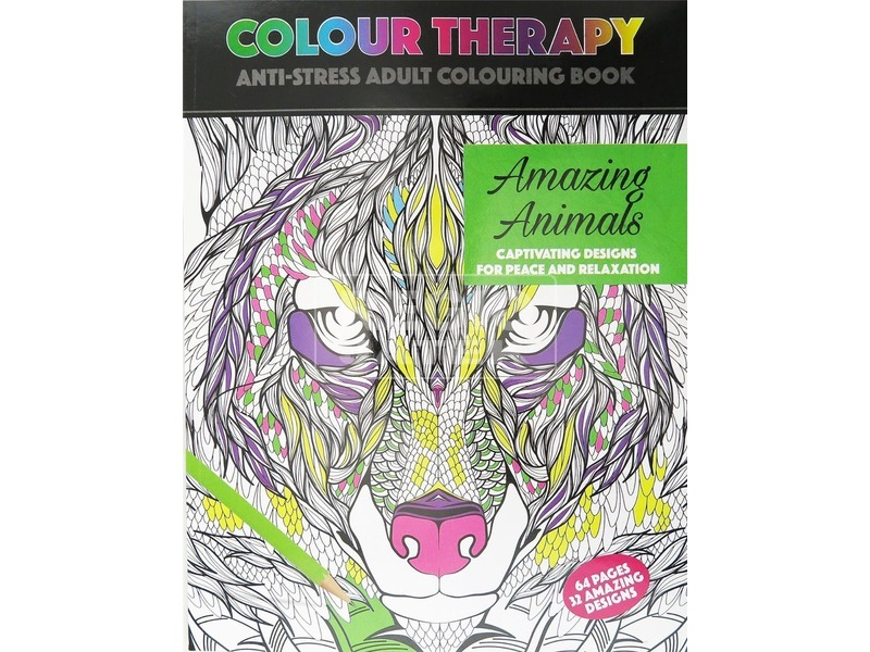 Színterápia stresszoldó 64 lapos kifestő - állatok