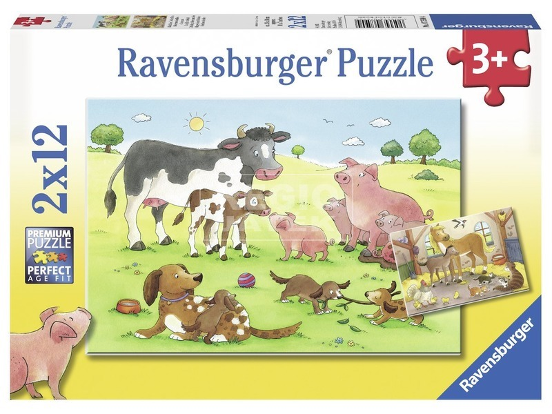Boldog állatcsaládok 2 x 12 darabos puzzle