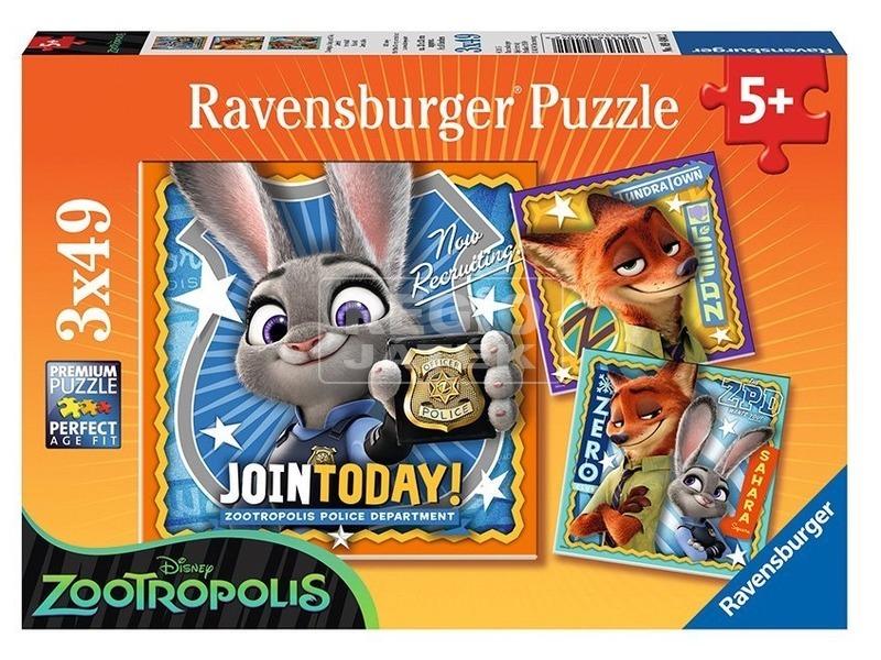 Zootropolis 3 x 49 darabos puzzle