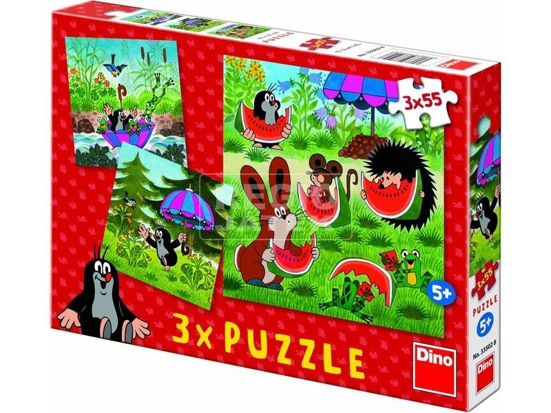 Kisvakond és az esernyő 3 x 55 darabos puzzle