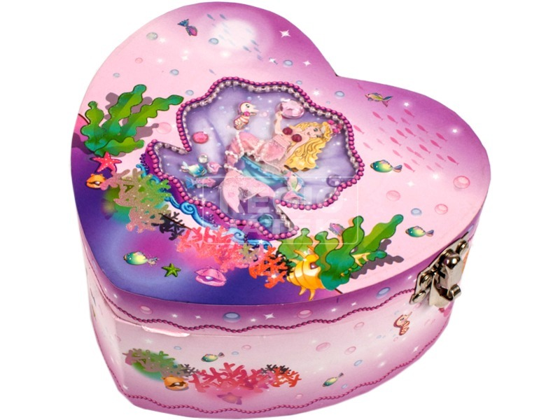 Sellő szívecske alakú zenélő ékszerdoboz