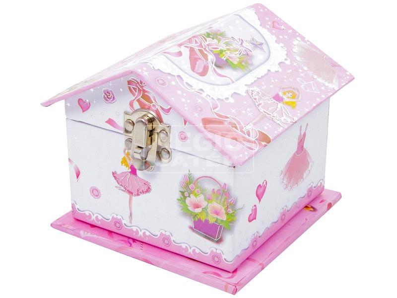 Balerina házikó alakú zenélő doboz