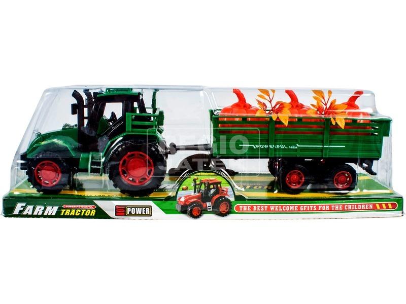 Lendkerekes traktor növényszállító utánfutóval - 30 cm