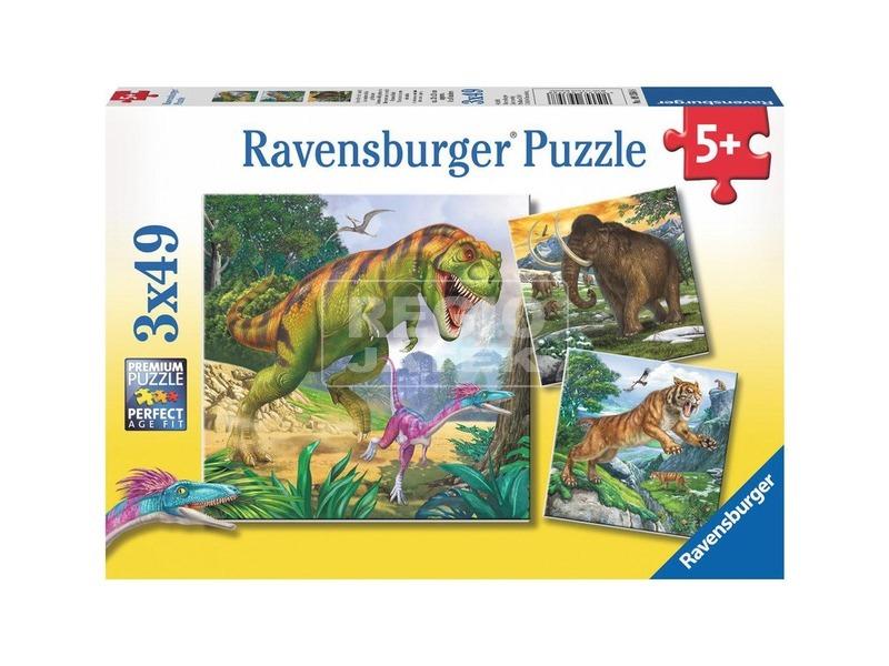 Dinoszauruszok 3 x 49 darabos puzzle