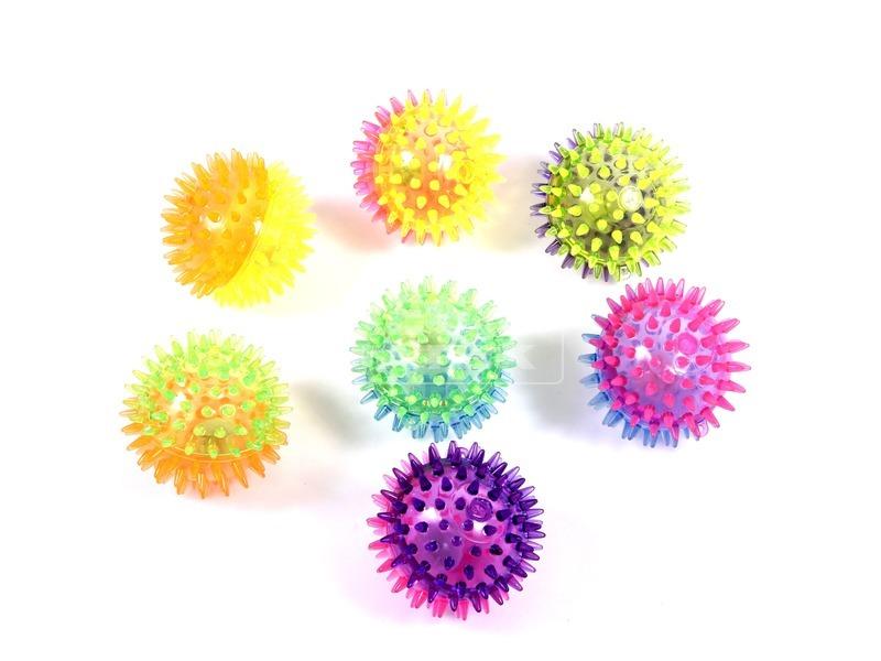 Villogó tüskés labda - 8 cm, többféle