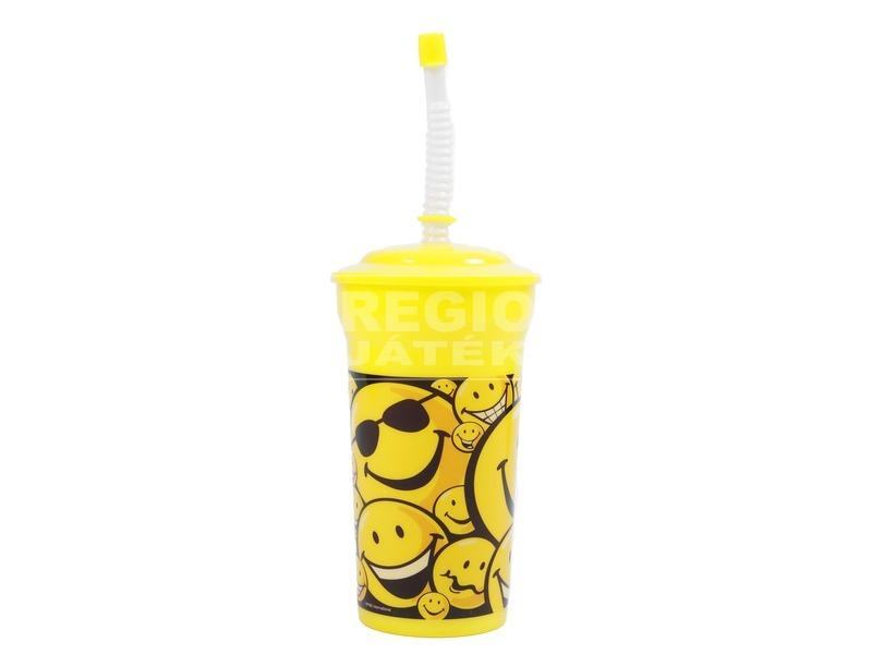 Smiley pohár szívószállal - 700 ml