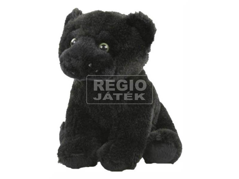 Fekete párduc ülő plüssfigura - 18 cm