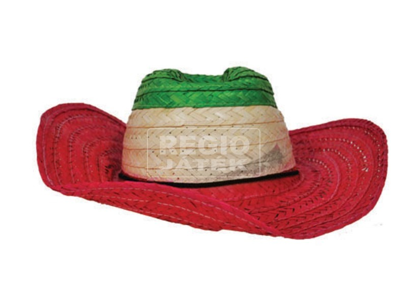 Szalmakalap - piros-fehér-zöld