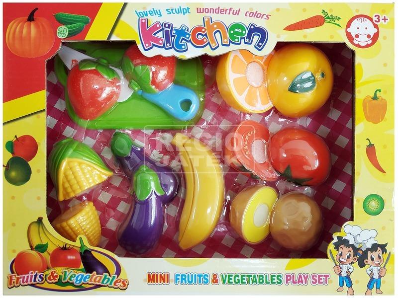 Műanyag vágható gyümölcs és zöldség 14 darabos készlet