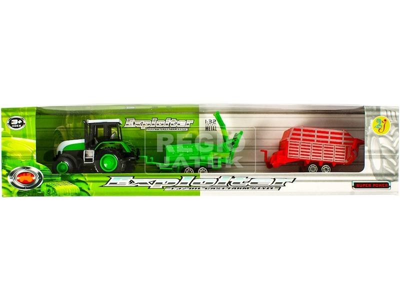 kép nagyítása Fém traktor két utánfutóval - 1:32