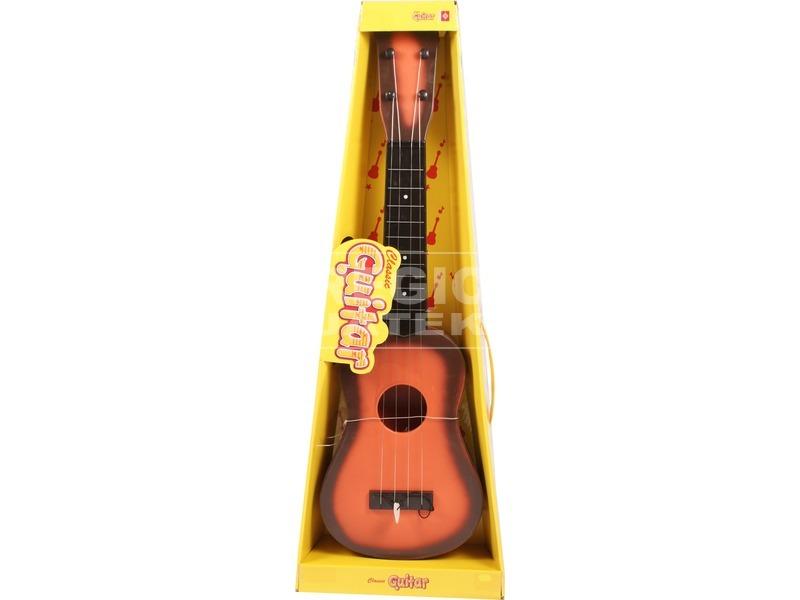 Műanyag gitár fa mintázattal - 60 cm