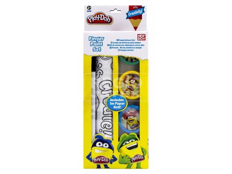 Play-Doh 4 db ujjfesték és rajzlaptekercs