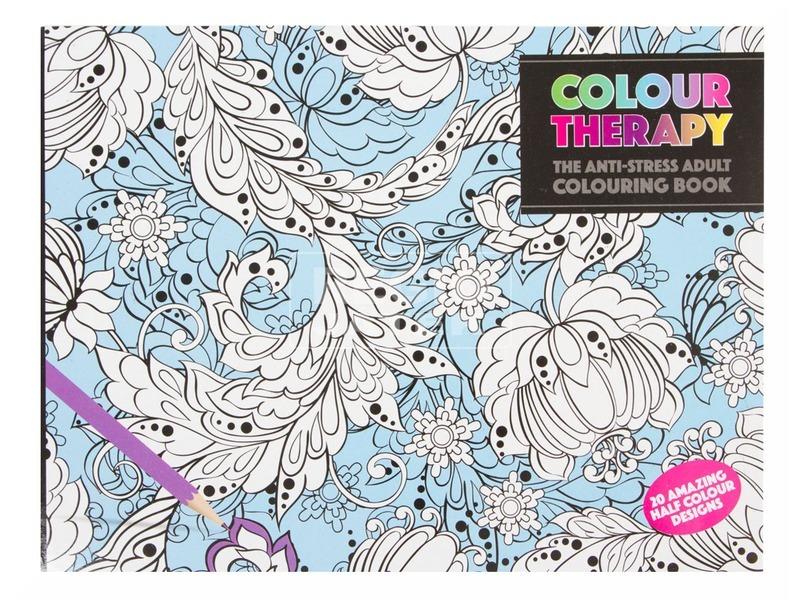 Színterápia kifestőkönyv 21x28 cm, félig színezett lapok