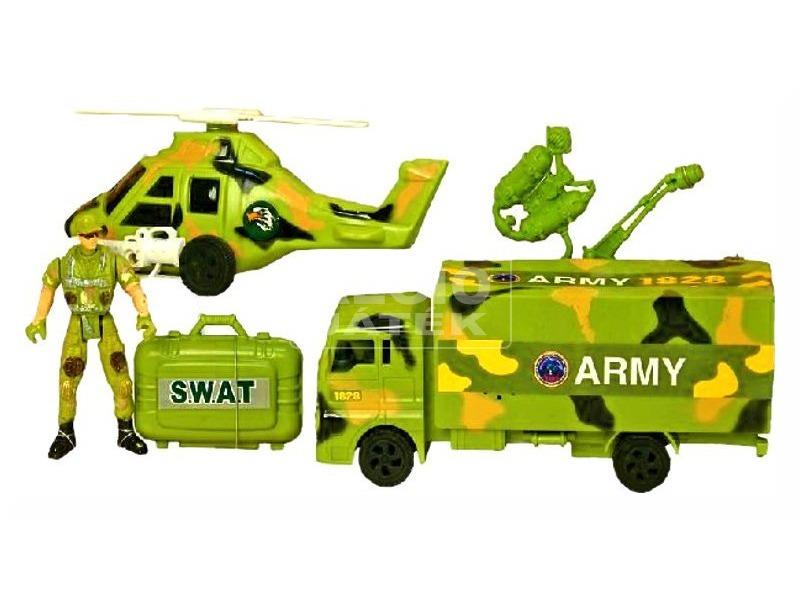 Katonai autó és helikopter készlet figurával