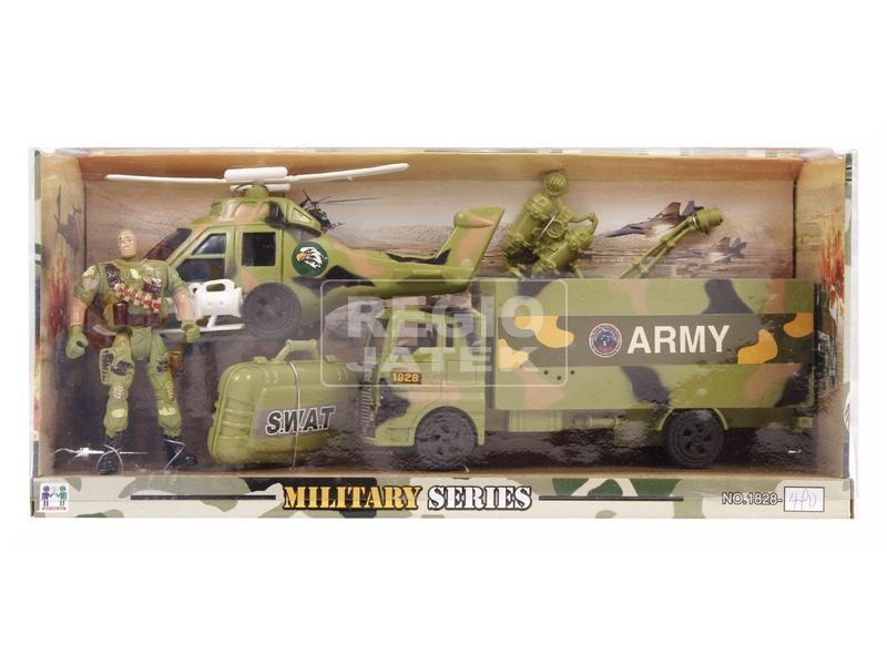 kép nagyítása Katonai autó és helikopter készlet figurával
