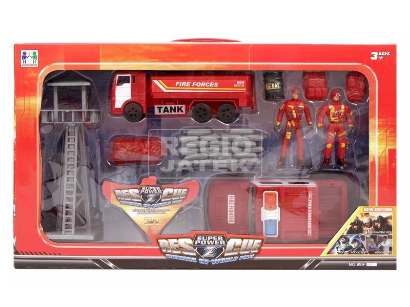 Tűzoltó autó készlet figurákkal