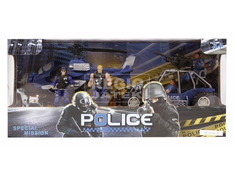 Rendőr autó és helikopter készlet figurákkal